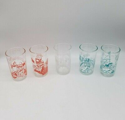 Lot of 5 Different Hanna-Barbera The Flintstones Welch's 1960's Jelly Glasses