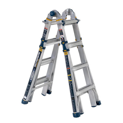 WERNER Multi-Position Ladder 18 ft. Reach Aluminum 375 lbs. Load Capacity 5-in-1