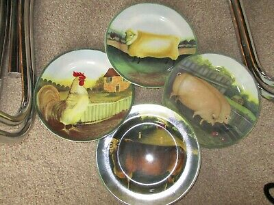 Vintage 1995 - Set of 4, BLOCK Country Farm by Gear 8in Side Plates.