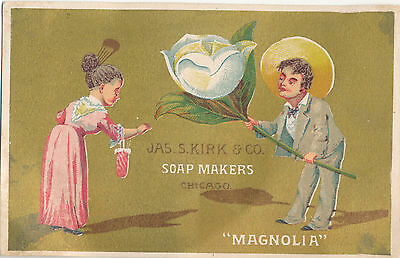 """James S. Kirk & Co. Soap Makers """"Magnolia"""" Victorian Trade Card Advertising"""