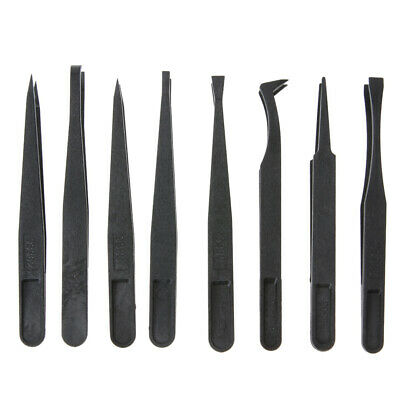 8pcs Portable Black Anti-static Plastic Tweezer Heat Resistant Repair Tool ✿