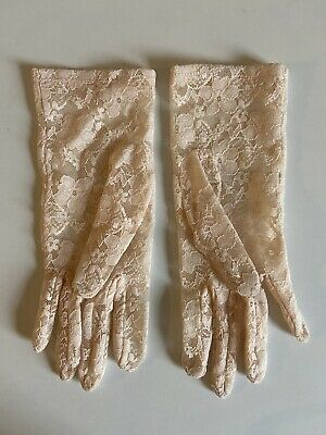 Peach / Nude Pink Stretch Lace Wrist Length Gloves