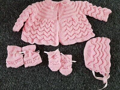 Baby girl handmade pink knitted set, cardigan, mittens, booties and hat. 3-6 mth
