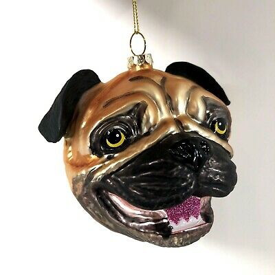 Glass Christmas Ornaments Pug Dog Head Glitter Accents Robert Stanley 4in