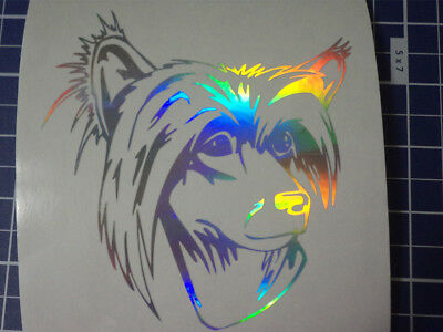 Chinese Crested Dog Dog Breed Holographic Silver Vinyl Car Window Decal Sticker