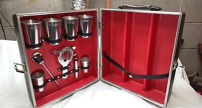 Vintage Imperial Tote-A-Bar Portable Travel Liquor Suitcase Set With Box 1960s