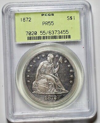 1872 Proof Seated Liberty Dollar Pcgs Pr55 - 950 Minted