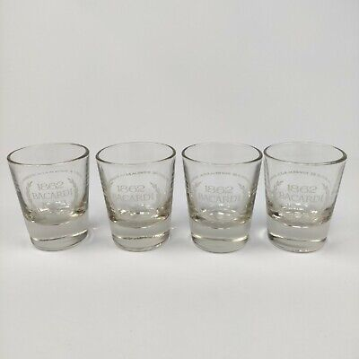 Vintage Lot of 4 Bacardi Rum Shot Glass Anniversary 1862-1963 Collectible VGC!