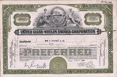 Stock certificate United Cigar Whelam Stores Corp. Less Than 100 shares, 1944