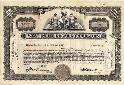 Stock Certificate West Indies Sugar Corporation Less Than 100 shares