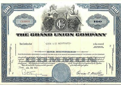 Stock certificate Grand Union Company 1964 100 shares State of Delaware