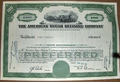 Stock certificate American Sugar Refining Company 1960's 100 shares green