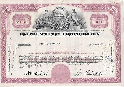 Stock certificate United Whelan Corporation 1962. State of Delaware