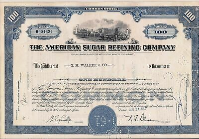 Stock certificate American Sugar Refining Company 1960's blue 100 shares