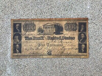 1840 - $1000 Bank Note - The Bank Of United States - #8894 - Reproduction