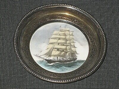 Frank M. Whiting Hand Color Silver Great Republic Ship Sterling Coaster Nut Dish