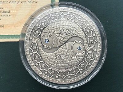 Pisces Zodiac of the Sign  20 Roubles Silver Coin With Crystals Belarus 2009