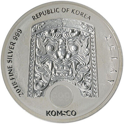 2018 Korea 2 Clay Chiwoo Cheonwang 2 oz .999 Silver Coin - NEW in Capsule