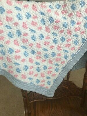 Vintage Handmade & Quilted by Hand Baby Blanket Satin Trim - pink, blue, white