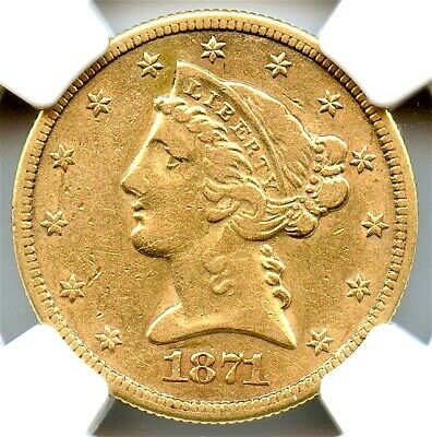 1871-CC $5 Gold Liberty Half Eagle, NGC XF-40, Very Attractive, Ultra Rare Date!