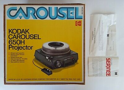 Kodak Carousel 650H Projector with remote and slide tray, in original box