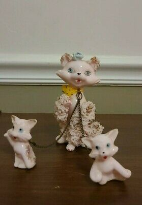 Vintage Spaghetti Porcelain Cat W/ Kittens On A Chain (Japan 1950's)