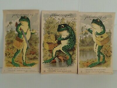 Group of Six 6 1882 Boraxine Elite Soap Bull Frog Trade Cards