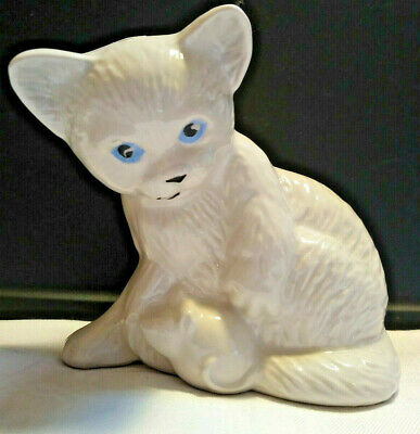 Vintage Ceramic Kitty Cat W/ Mouse Figurine, Made in Brazil, White w Blue Eyes