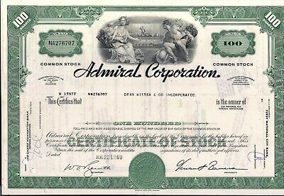 10 sequential Admiral Corp. stock certificate 100 shares to Dean Witter & Co