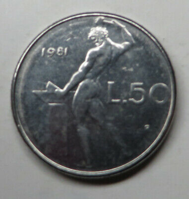 Italy 50 Lire 1981R Stainless Steel KM#95.1 UNC