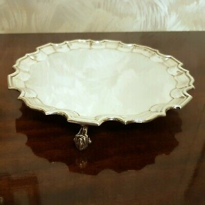 """8"""" inch Round Chippendale 1911 George V Sterling Silver Sheffield Tray Salver"""