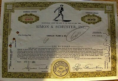 Vintage stock certificate Simon & Schuster Inc. State of New York