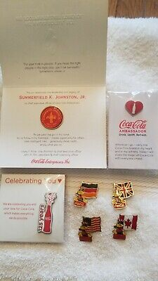 Coca-Cola Commemorative Pins Lot 1984 Olympics USA Canada Germany Great Britain