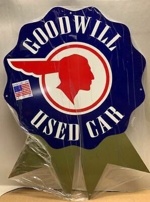 Awesome Die-Cut  Pontiac Good Will Used Cars Sign  Heavy Steel, Great Colors