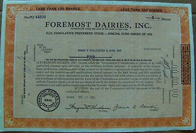 Foremost Dairies, Inc. stock certificate dated 1961