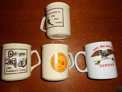 VINTAGE 1980's KELTGEN SEED COMPANY PRESIDENTS CAMP 4 FOUR CUPS MUGS LOT