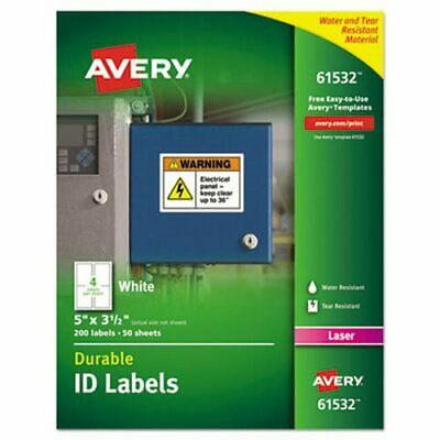 Avery 61532 Durable ID Labels, White, 5 x 3-1/2, 200 Labels (AVE61532)