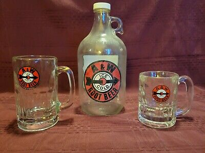 A&W Vintage Glass Root Beer Mugs& take home bottle with Red Bullseye Logo