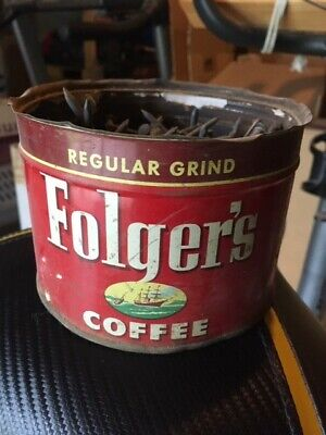 Vintage Pre-Production Folger's Regular Grind Coffee Can - empty - with key