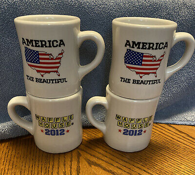 "Waffle House Coffee Mug ""America the Beautiful"" Tuxton 2012 Flag Patriotic Set 4"