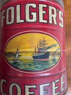 Vintage Folgers Coffee Can, Ship Graphics, California Poppies, RARE Five Pound