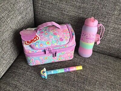 Girls Smiggle Pink Kitty Hearts Stylin Lunch Bag Silicone Water Drink Bottle 🥰
