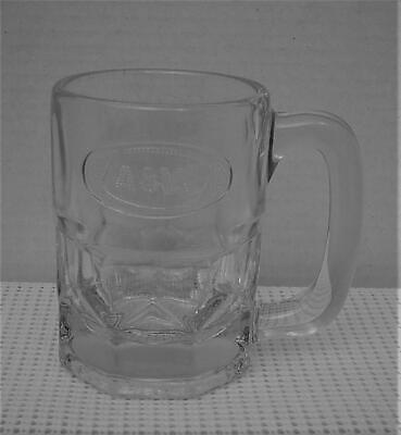 "Vintage HANDLED A & W ROOT BEER MUG 4 1/4"" 10 Ounce Embossed Oval Decal GUC"
