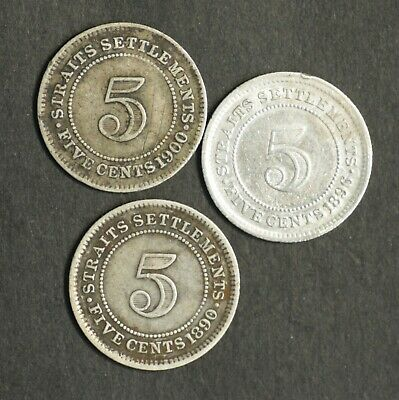 Straits Settlements 5 Cents 1890, 1986, 1900 Very Fine