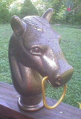 Hitching Post Horse Head With Ring – New – Antique Finish