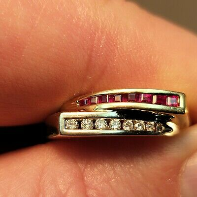 4.12g 14K Yellow White Gold Ruby & Diamonds Not Scrap Ring 7.25 Can Be Resized