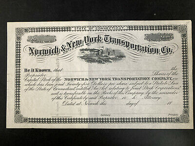 Norwich and New York Transportation Co. (CT) stock certificate specimin 18--
