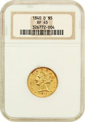 1840-D $5 NGC XF45 (Tall D) Scarce Southern Branch Mint Issue