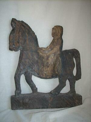 Old Wood Handcarved Horse & Rider Statue Tribal Artefact West Timor Indonesia