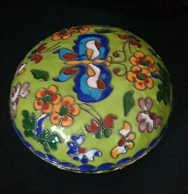 Vintage oriental Cloisonné Round Jewellery/ Pill Box, 8cm Dia,approx! Colourful.